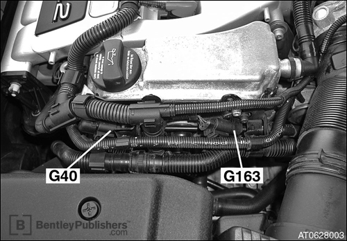 Location of ignition components on 3.2L engine. (BentleyPublishers.com watermark not printed on actual product.)