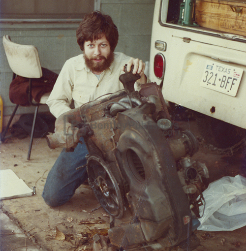 Rob removing the engine from Maire Anne's '72 VW Bus