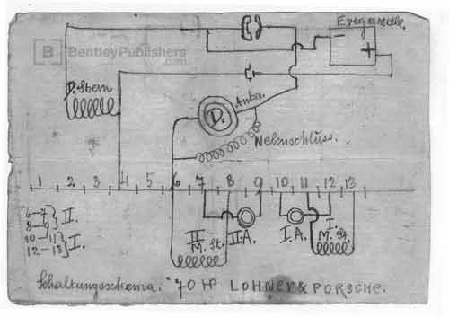 In neat sketches in his own notebook, Porsche worked out the electrical connections that would be needed to control the forward speeds of his powerful Panhard-powered Mixtes of 1905.