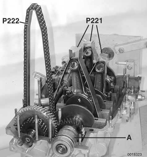Detailed photographs for each repair procedure, including illustrations of Porsche special tools. Shown are the connecting rod and timing chain supports that make crankcase assembly a lot easier.