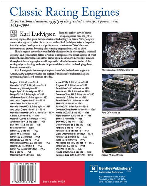 Classic Racing Engines by Karl Ludvigsen back cover